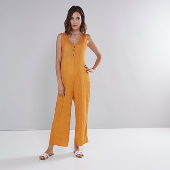 Printed Sleeveless Jumpsuit with V-neck and Button Detail