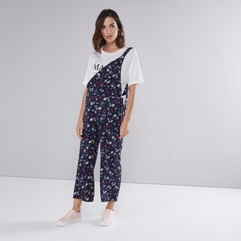 Floral Printed Dungarees with Button Closure and Straps