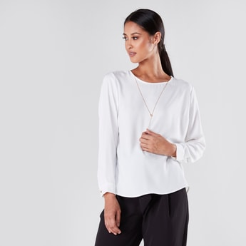 Solid Round Neck Top with Long Sleeves