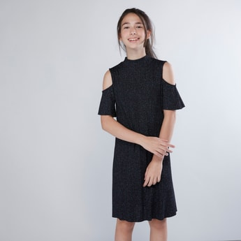 Textured Turtle Neck Dress with Cold Shoulder Sleeves
