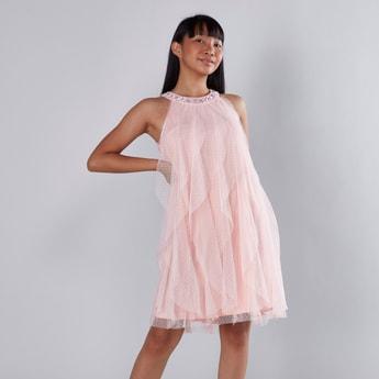 Textured Round Jewelled Neck Sleeveless Dress