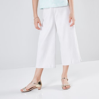 Textured Culottes with Pocket Detail and Elasticised Waistband