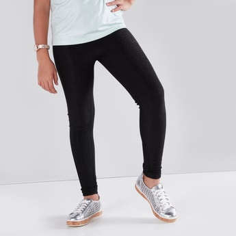 Full Length Textured Leggings with Elasticated Waistband
