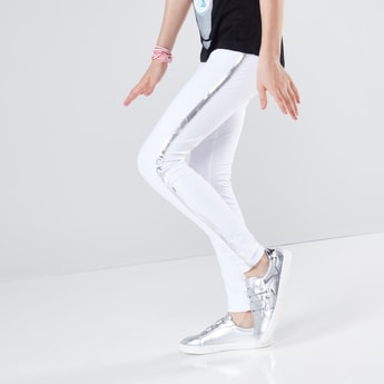 Sequin Side Tape Detail Leggings with Elasticised Waistband