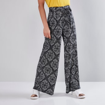 Printed Palazzo Pants with Tie Ups