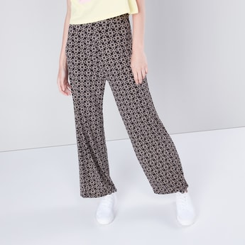 Full Length Mid-Rise Printed Palazzos with Elasticated Waistband