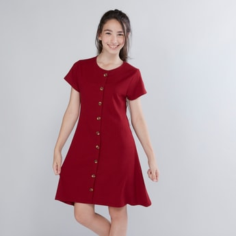 Ribbed Buttoned Down Dress with Short Sleeves