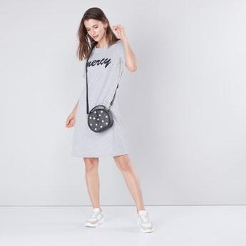 Ribbed Round Neck Maxi T-shirt Dress with Upturned Sleeve Hems