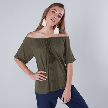 Pom-Pom Detail Off Shoulder Top with Tie Ups