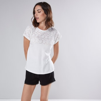 Schiffli Detail Top with Round Neck and Extended Sleeves