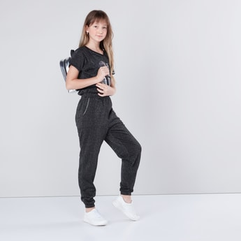 Sequin Detail Jumpsuit with Round Neck and Short Sleeves