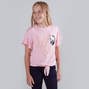 Hello Kitty Embroidered Round Neck T-shirt with Short Flared Sleeves