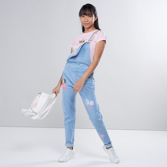 Printed Dungarees with Pocket Detail
