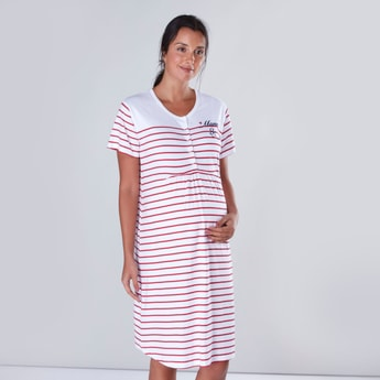Striped Maternity Sleepshirt with Short Sleeves