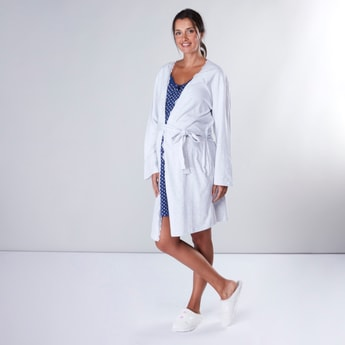 Set of 2 - Maternity Lace Detail Robe with Printed Gown