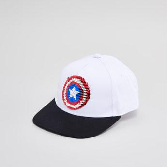 Captain America Sequin Detail Cap with Snap Button Closure