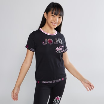 JoJo Siwa Printed Tape Detail T-shirt with Round Neck and Short Sleeves