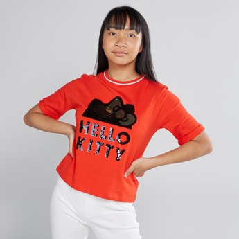 Hello Kitty Sequin Detail T-shirt with Round Neck and Short Sleeves