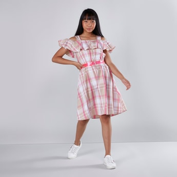 Chequered Off Shoulder Dress with Frill Detail and Belt