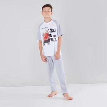 Printed T-shirt with Short Sleeves and Pyjama Set