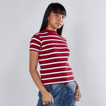 Striped T-shirt with High Neck and Short Sleeves