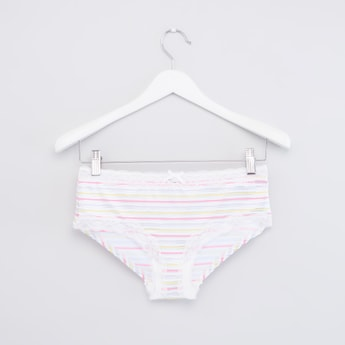 Striped Full Brief with Lace Detail