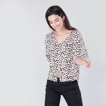 Animal Printed Shirt with V-neck and 3/4 Sleeves