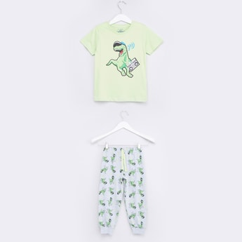 Printed Short Sleeves T-shirt with Drawstring Jog Pants