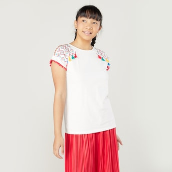 Embroidered Detail Top with Short Sleeves and Tassels