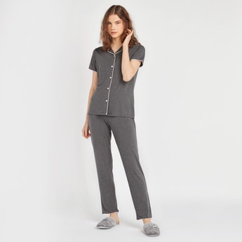 Piping Detail Short Sleeves Shirt with Full Length Pyjamas