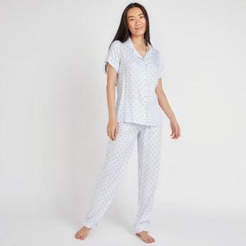 Heart Print Short Sleeves Shirt and Full Length Pyjama Set