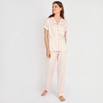Heart Print Collared Shirt and Full Length Pyjama Set