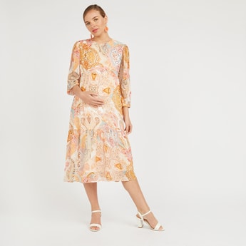 Printed Midi A-line Dress with Long Sleeves