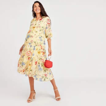 Floral Print Maternity Dress with V-neck and 3/4 Sleeves