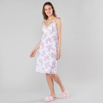 Floral Print V-neck Sleep Dress with Adjustable Spaghetti Straps