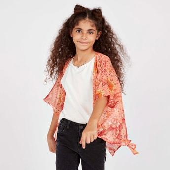 Paisley Print Shrug with Short Sleeves