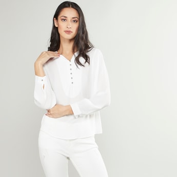 Plain Top with Pleated Long Sleeves