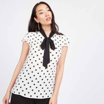 Polka Dot Print Top with Necktie and Cap Sleeves