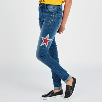 Textured Jeans with Pocket Detail Sequin Detail