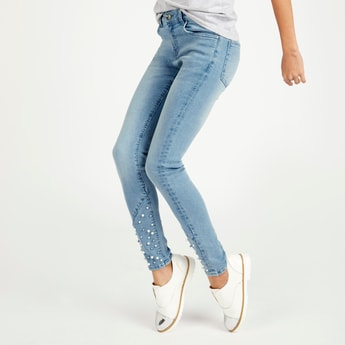 Embellished Jeans with Pocket Detail