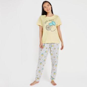 Lemon Print Short Sleeves T-shirt with Full Length Jog Pants