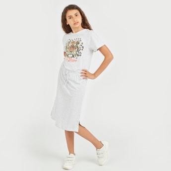 Printed Dress with Short Sleeves and Drawstring Closure