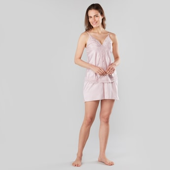 Lace Detail Sleeveless Top and Shorts Set