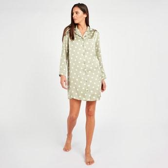 Polka Dot Print Sleepshirt with Long Sleeves and Chest Pocket