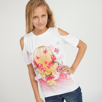 Graphic Print T-shirt with Cold Shoulder and Round Neck