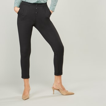 Plain Mid-Rise Trousers with Pocket Detail and Elasticised Waistband