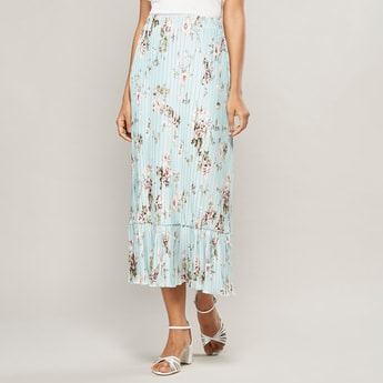 Printed Skirt with Pleat Detail and Elasticised Waistband