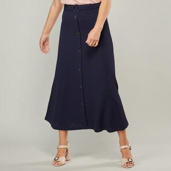 Button Detail A-line Maxi Skirt