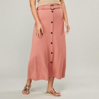 Button Detail A-line Midi Skirt