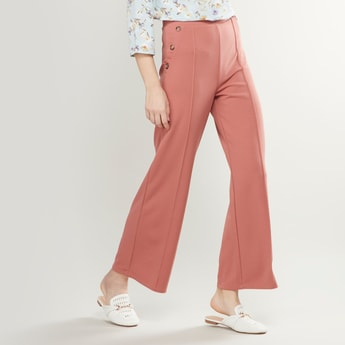 Solid Culotte Trousers with Button Detail